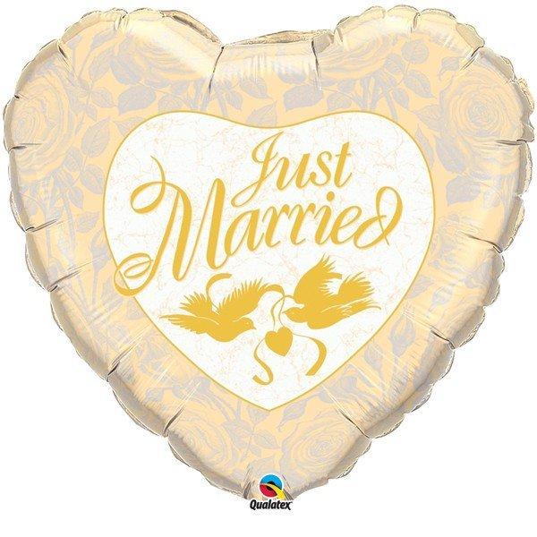 Qualatex 18 Inch Heart Foil Balloon - Just Married Ivory/Gold