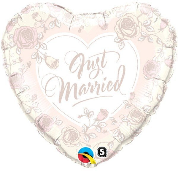 Qualatex 18 Inch Heart Foil Balloon - Just Married Roses