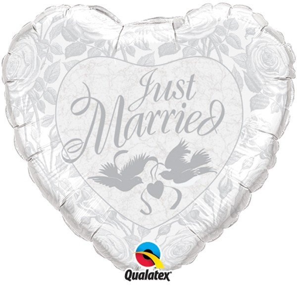 Qualatex 18 Inch Heart Foil Balloon - Just Married White/Silver