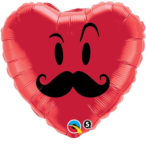 Qualatex 18 Inch Heart Foil Balloon - Mr Mustache