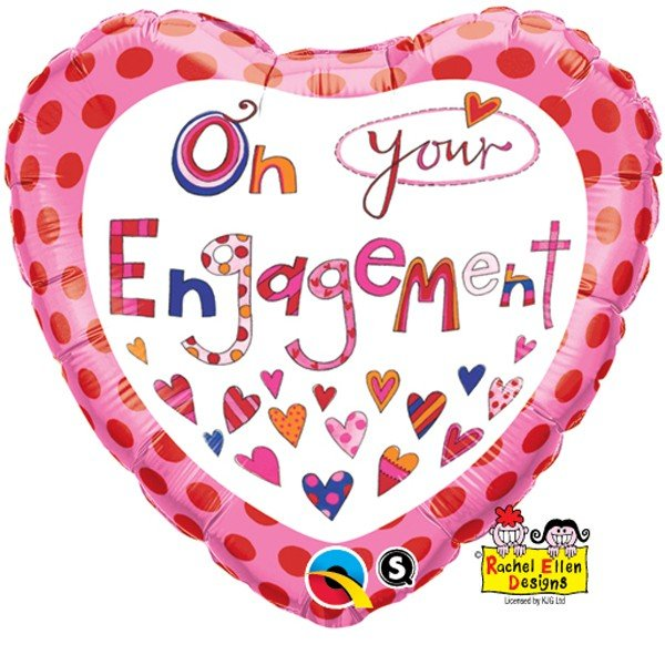 Qualatex 18 Inch Heart RE Foil Balloon - On Your Engagement