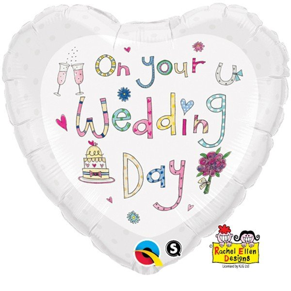 Qualatex 18 Inch Heart RE Foil Balloon - On Your Wedding Day