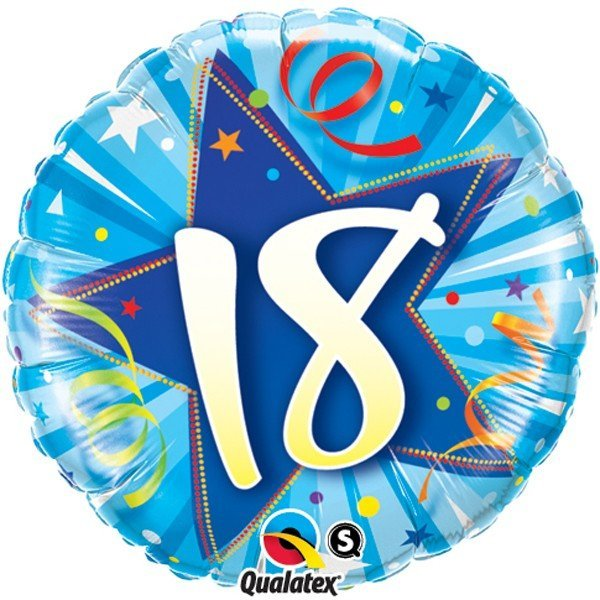 Qualatex 18 Inch Round Foil Balloon - 18 Shining Star Bright Blue