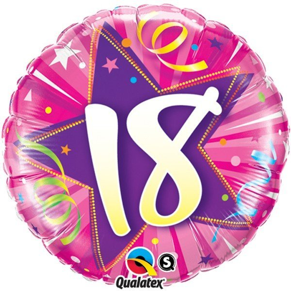Qualatex 18 Inch Round Foil Balloon - 18 Shining Star Hot Pink
