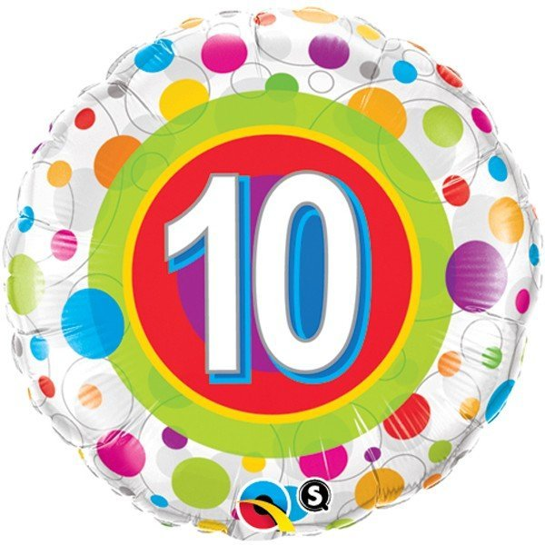 Qualatex 18 Inch Round Foil Balloon - Age 10 Colourful Dots