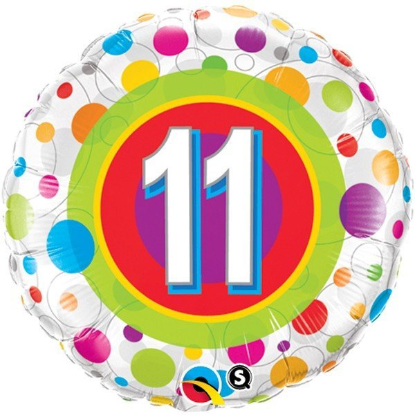Qualatex 18 Inch Round Foil Balloon - Age 11 Colourful Dots