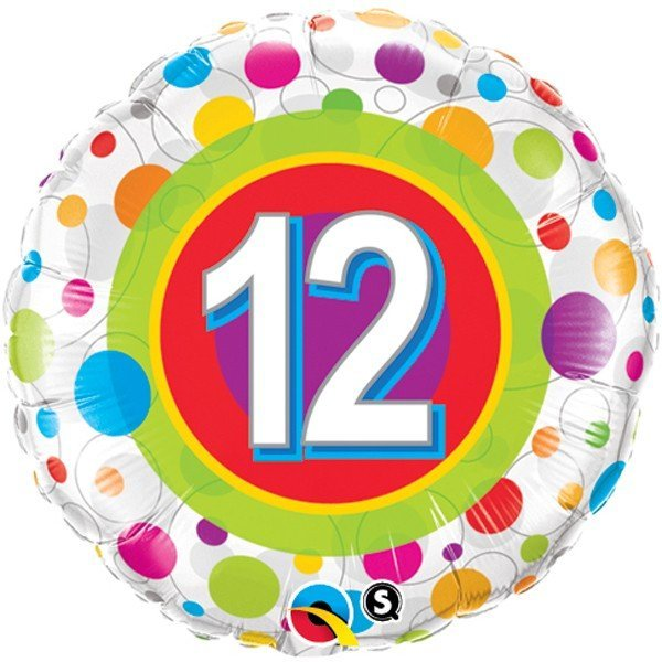 Qualatex 18 Inch Round Foil Balloon - Age 12 Colourful Dots
