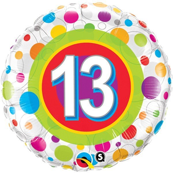 Qualatex 18 Inch Round Foil Balloon - Age 13 Colourful Dots