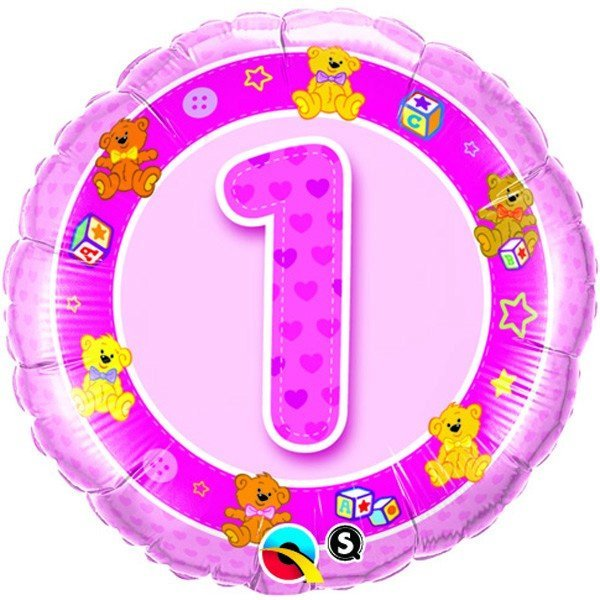 Qualatex 18 Inch Round Foil Balloon - Age 1 Pink Teddies