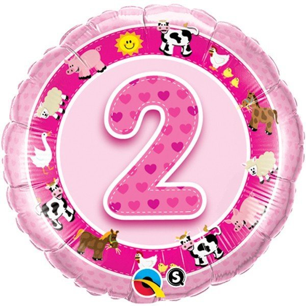 Qualatex 18 Inch Round Foil Balloon - Age 2 Pink Farm Animals