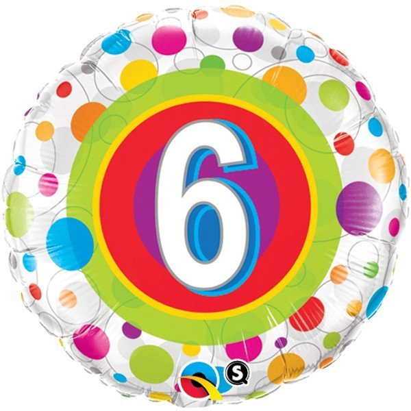 Qualatex 18 Inch Round Foil Balloon - Age 6 Colourful Dots