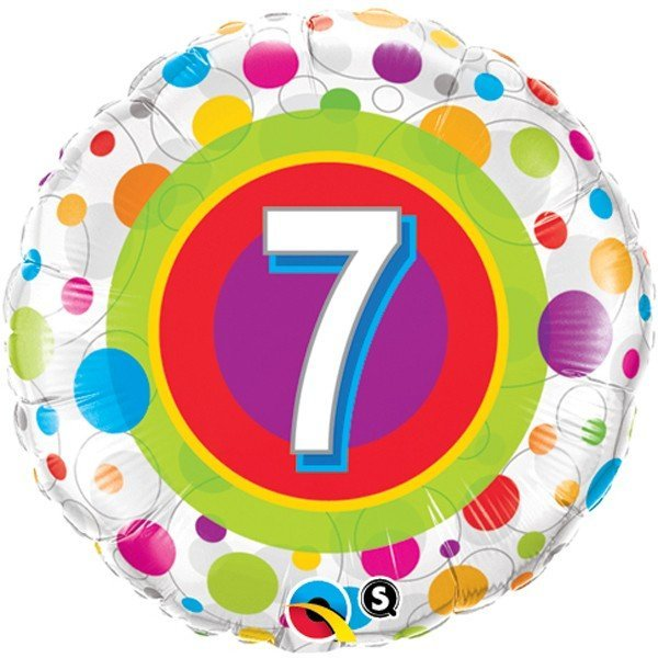 Qualatex 18 Inch Round Foil Balloon - Age 7 Colourful Dots
