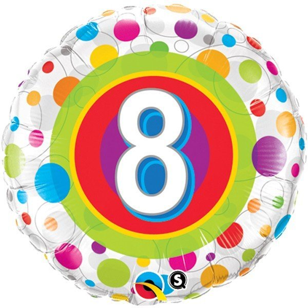 Qualatex 18 Inch Round Foil Balloon - Age 8 Colourful Dots