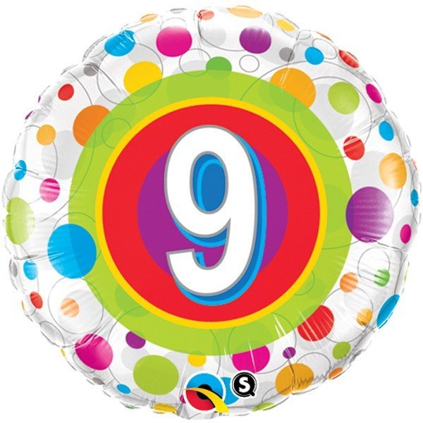 Qualatex 18 Inch Round Foil Balloon - Age 9 Colourful Dots