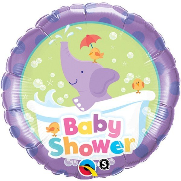 Qualatex 18 Inch Round Foil Balloon - Baby Shower Elephant