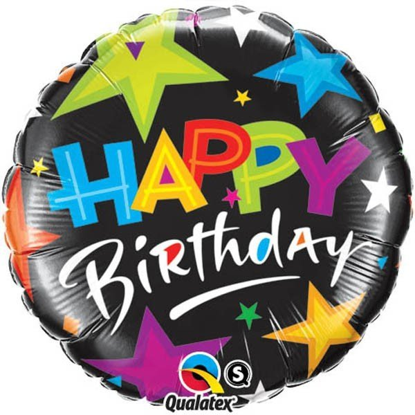 Qualatex 18 Inch Round Foil Balloon - Birthday Brilliant Stars Black