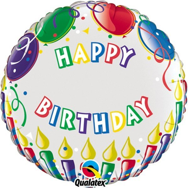 Qualatex 18 Inch Round Foil Balloon - Birthday Candles