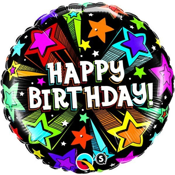Qualatex 18 Inch Round Foil Balloon - Birthday Colourful Shooting Stars