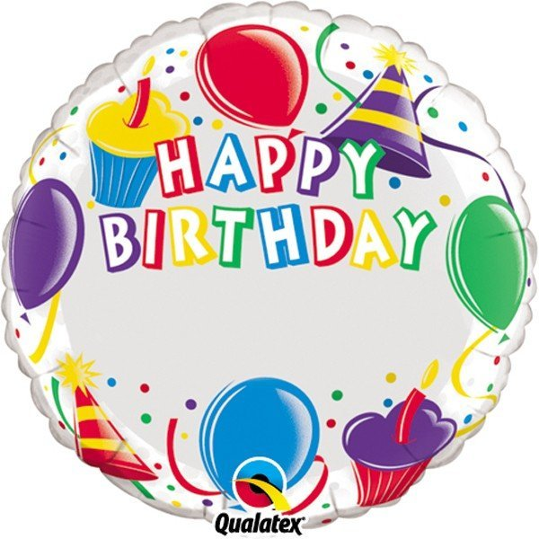 Qualatex 18 Inch Round Foil Balloon - Birthday Cupcakes