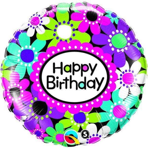 Qualatex 18 Inch Round Foil Balloon - Birthday Daisy Patterns