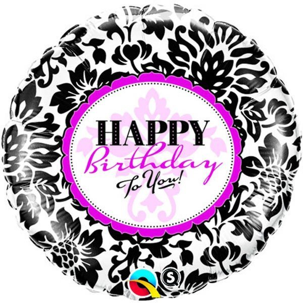Qualatex 18 Inch Round Foil Balloon - Birthday Elegant Damask