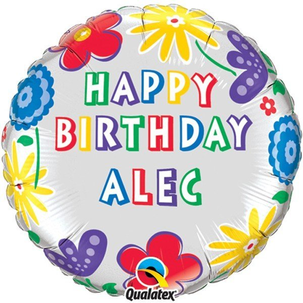 Qualatex 18 Inch Round Foil Balloon - Birthday Flowers