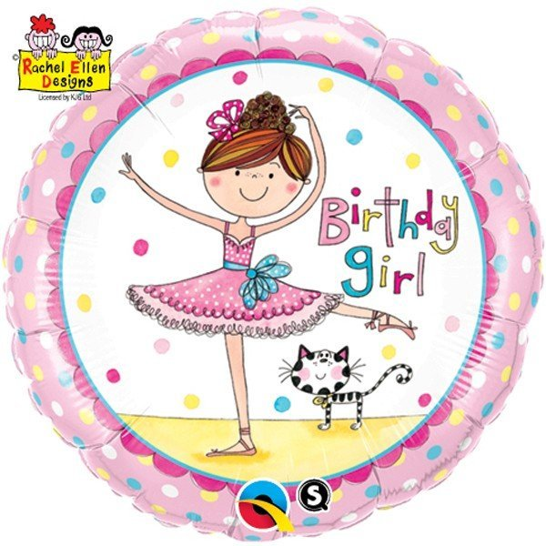 Qualatex 18 Inch Round Foil Balloon - Birthday Girl Ballerina
