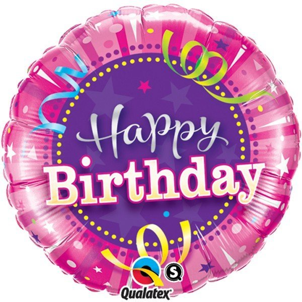 Qualatex 18 Inch Round Foil Balloon - Birthday Hot Pink