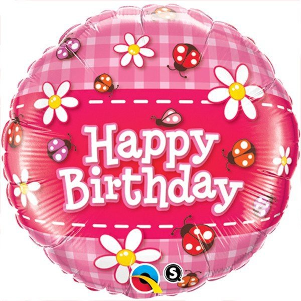 Qualatex 18 Inch Round Foil Balloon - Birthday Ladybug & Daisies