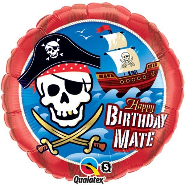 Qualatex 18 Inch Round Foil Balloon - Birthday Mate Pirate Ship