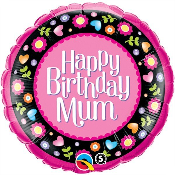 Qualatex 18 Inch Round Foil Balloon - Birthday Mum Pink & Floral