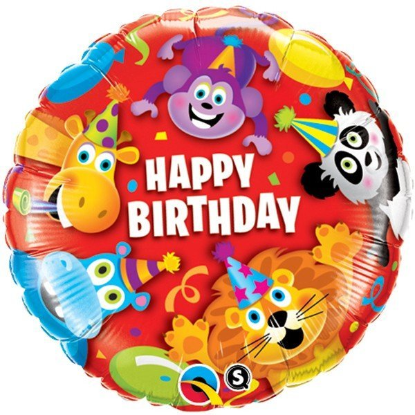 Qualatex 18 Inch Round Foil Balloon - Birthday Party Animals