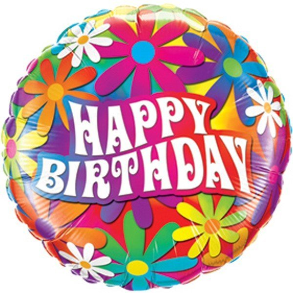 Qualatex 18 Inch Round Foil Balloon - Birthday Psychedelic Daisies