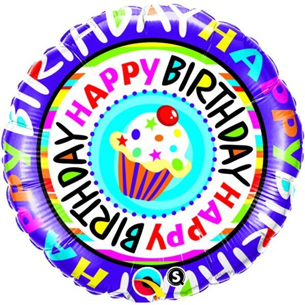 Qualatex 18 Inch Round Foil Balloon - Birthday Repeat Cupcake