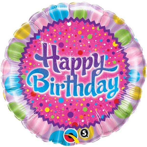 Qualatex 18 Inch Round Foil Balloon - Birthday Sprinkles & Sparkles