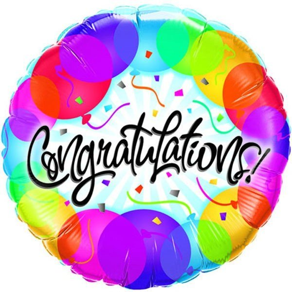 Qualatex 18 Inch Round Foil Balloon - Congratulations Balloon