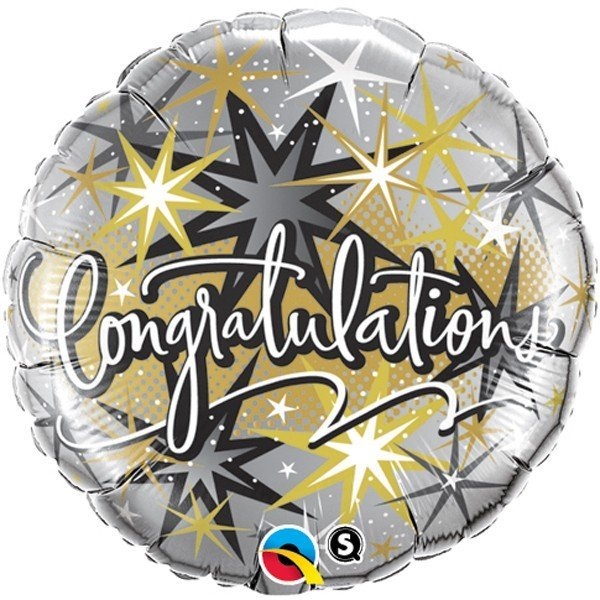 Qualatex 18 Inch Round Foil Balloon - Congratulations Elegant