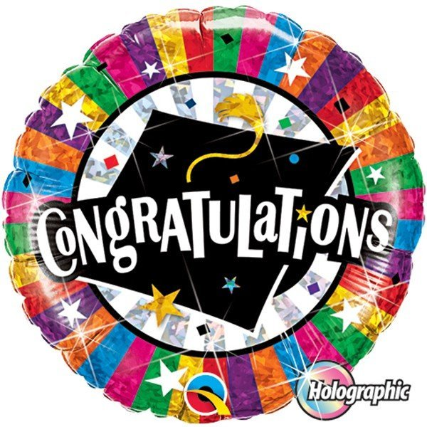 Qualatex 18 Inch Round Foil Balloon - Congratulations Grad Cap