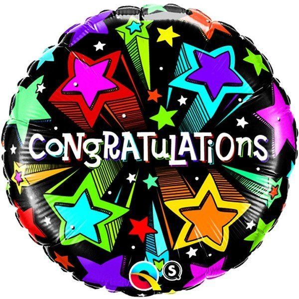 Qualatex 18 Inch Round Foil Balloon - Congratulations Shooting Stars