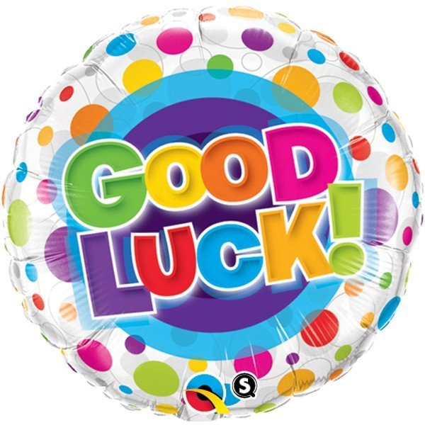 Qualatex 18 Inch Round Foil Balloon - Good Luck Colourful Dots