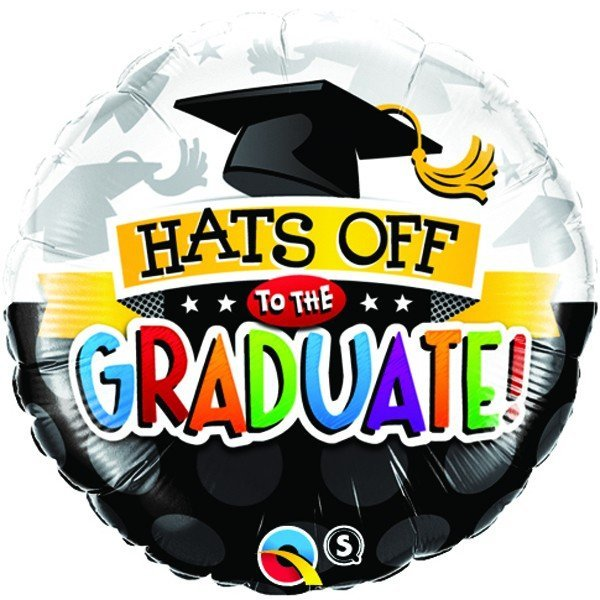Qualatex 18 Inch Round Foil Balloon - Hats Off To The Graduate