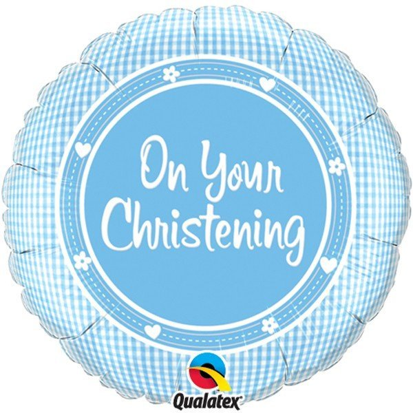 Qualatex 18 Inch Round Foil Balloon - On Your Christening Boy