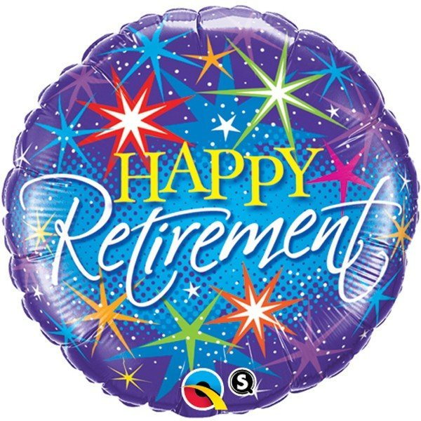 Qualatex 18 Inch Round Foil Balloon - Retirement Colorful Brusts