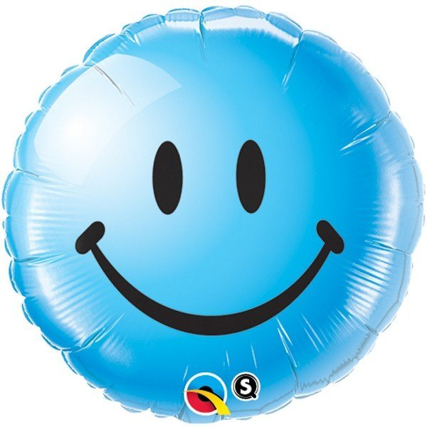 Qualatex 18 Inch Round Foil Balloon - Smiley Face Blue