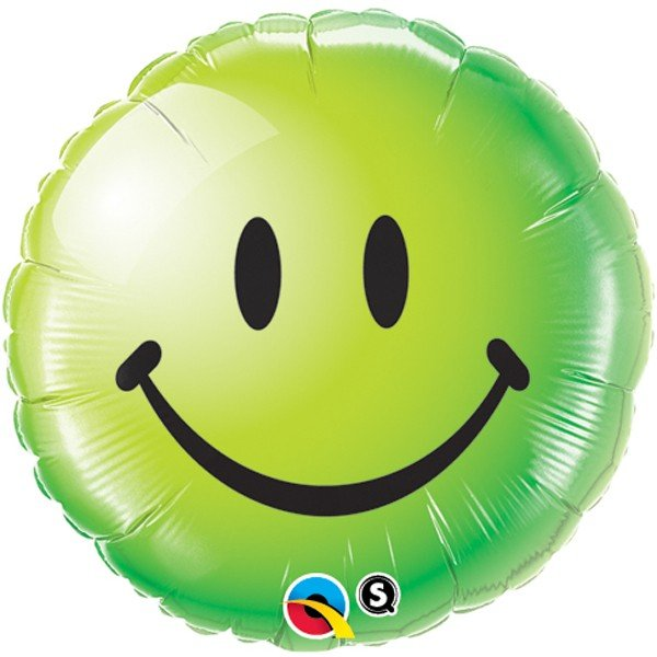 Qualatex 18 Inch Round Foil Balloon - Smiley Face Green