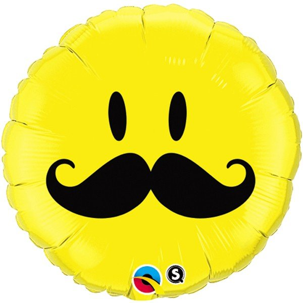 Qualatex 18 Inch Round Foil Balloon - Smiley Face Mustache