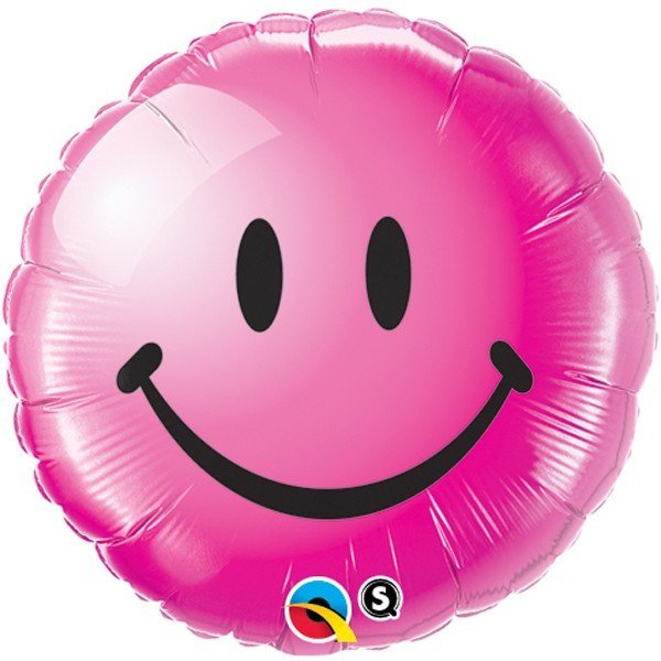 Qualatex 18 Inch Round Foil Balloon - Smiley Face Pink