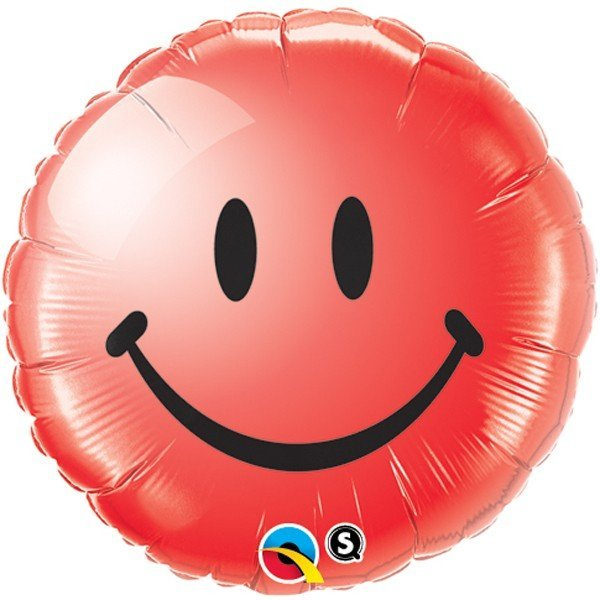 Qualatex 18 Inch Round Foil Balloon - Smiley Face Red