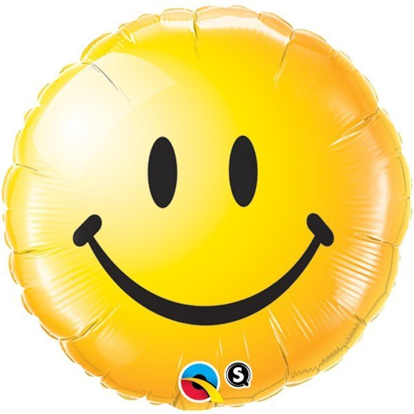 Qualatex 18 Inch Round Foil Balloon - Smiley Face Yellow