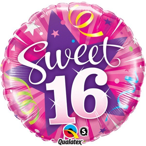 Qualatex 18 Inch Round Foil Balloon - Sweet 16 Shining Star